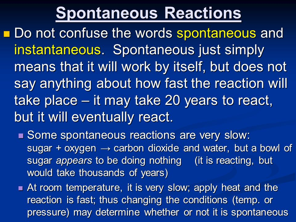 Spontaneous Reactions