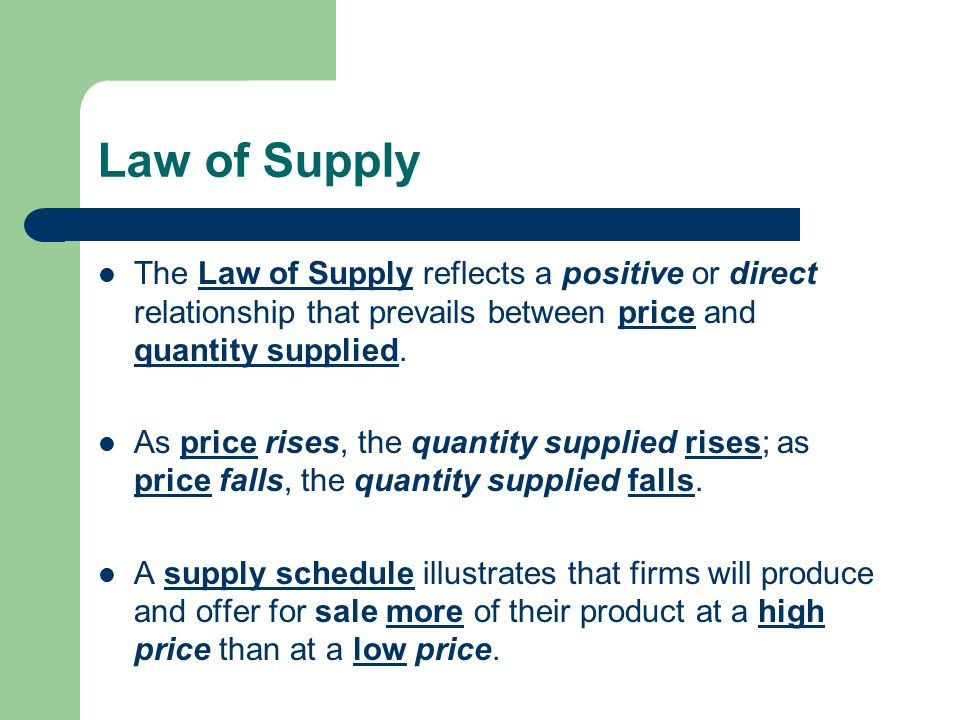 relationship between value and quantity supplied