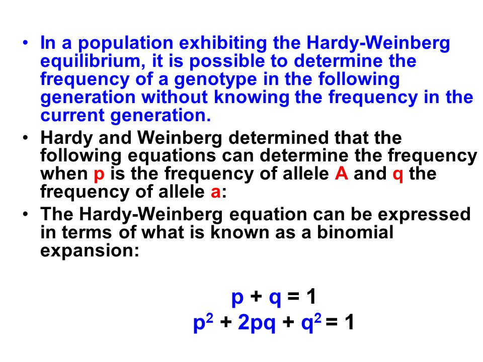 gene frequencies and the hardy weinberg 10421 c bc a m p n 265 k/pms design services of lab topic 11: population genetics i: the hardy-weinberg theorem 265 these genotypic frequencies can be obtained by multiplying p q by p q.