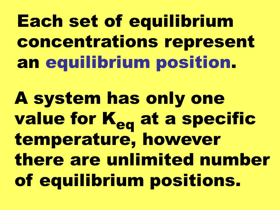 Each set of equilibrium concentrations represent an equilibrium position.