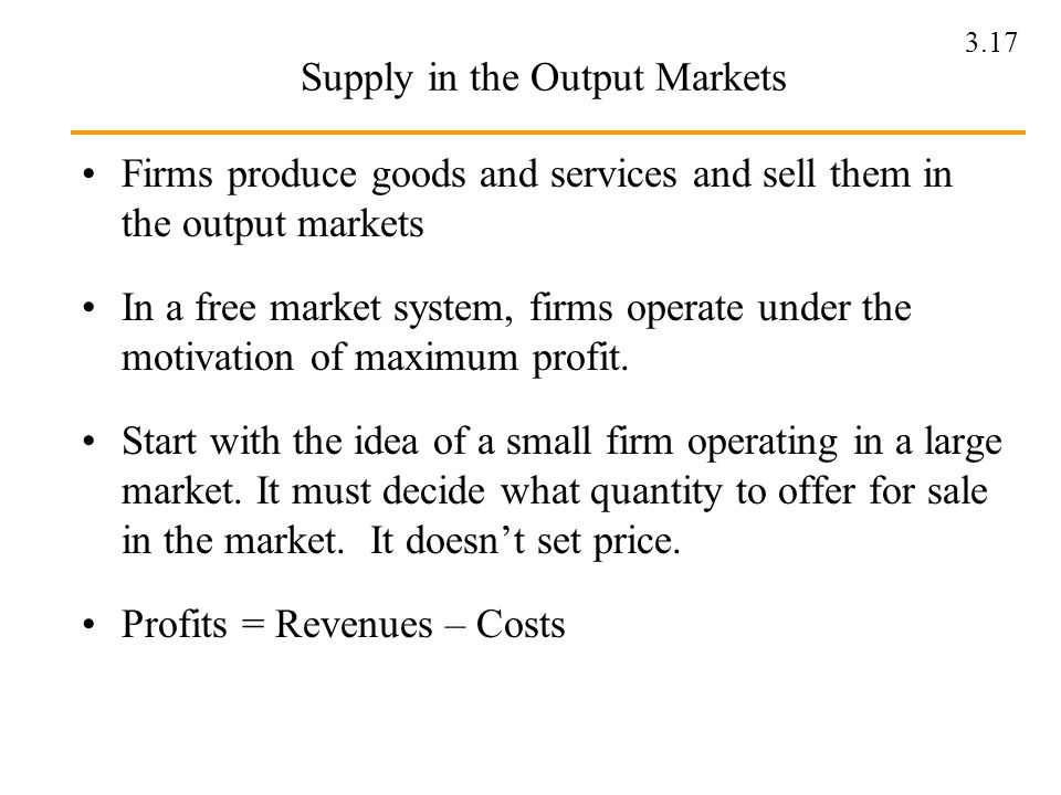 Supply in the Output Markets