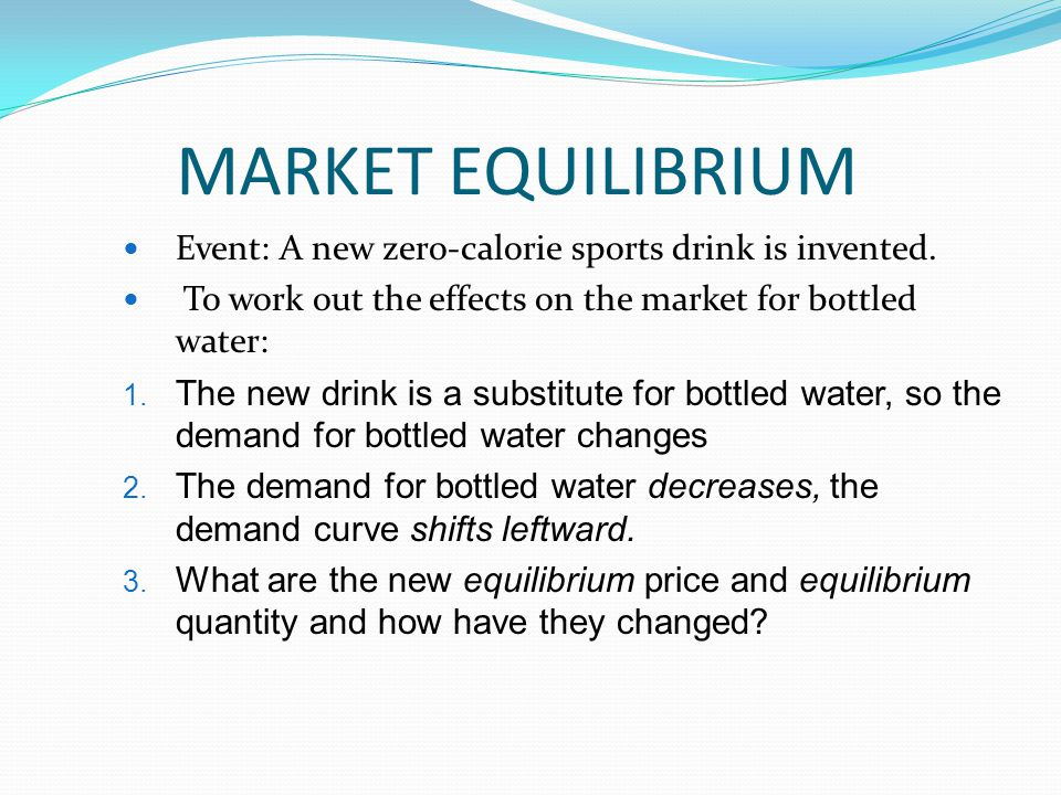 MARKET EQUILIBRIUM Event: A new zero-calorie sports drink is invented.