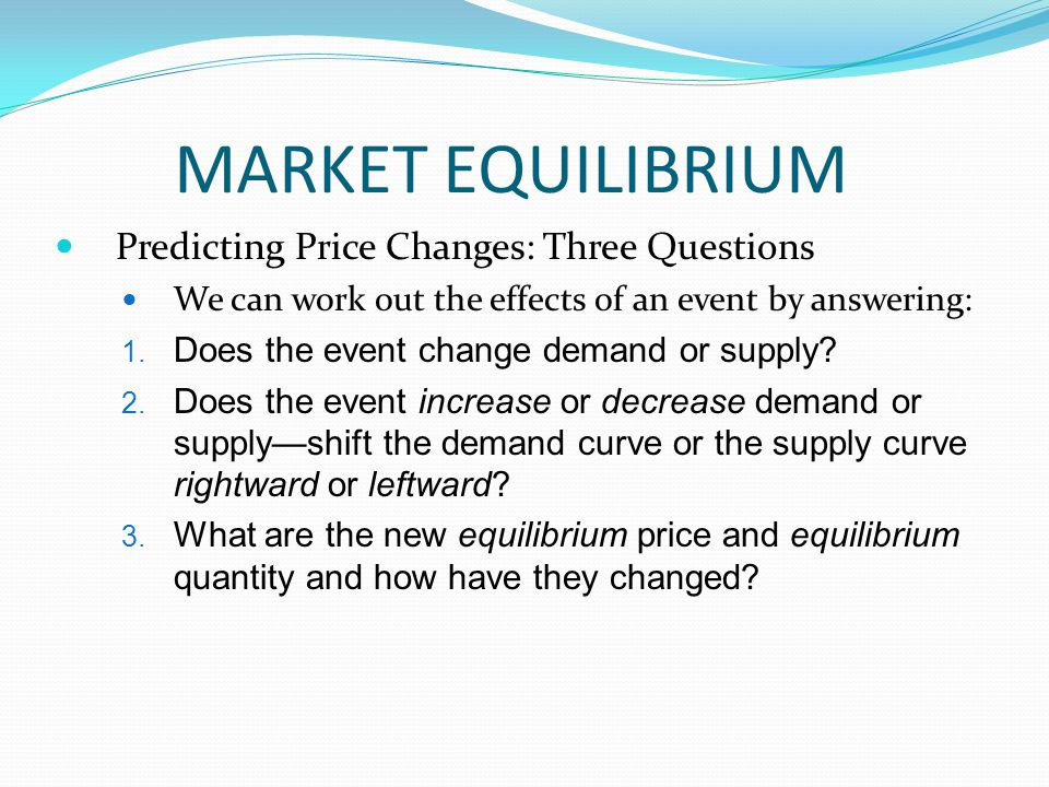 MARKET EQUILIBRIUM Predicting Price Changes: Three Questions
