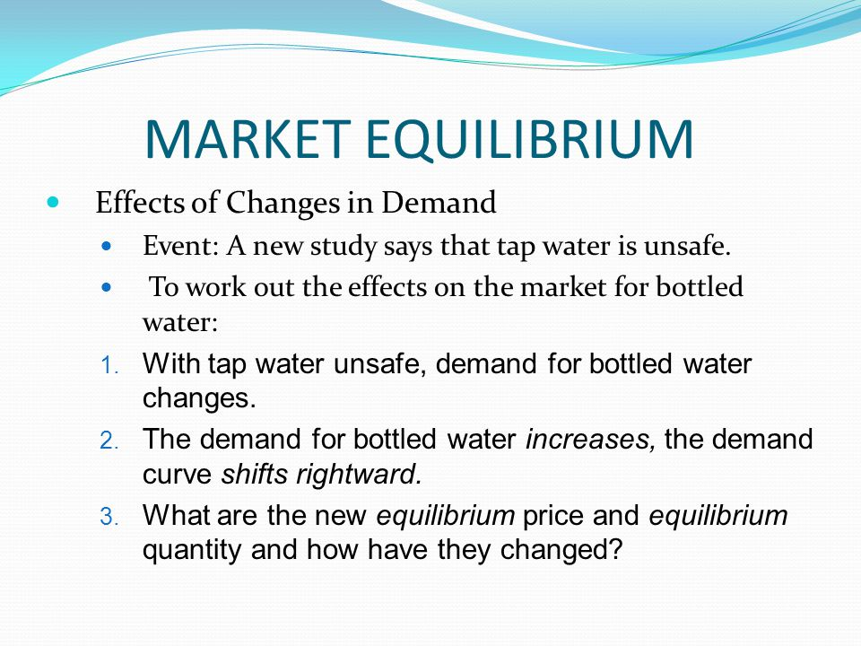 MARKET EQUILIBRIUM Effects of Changes in Demand