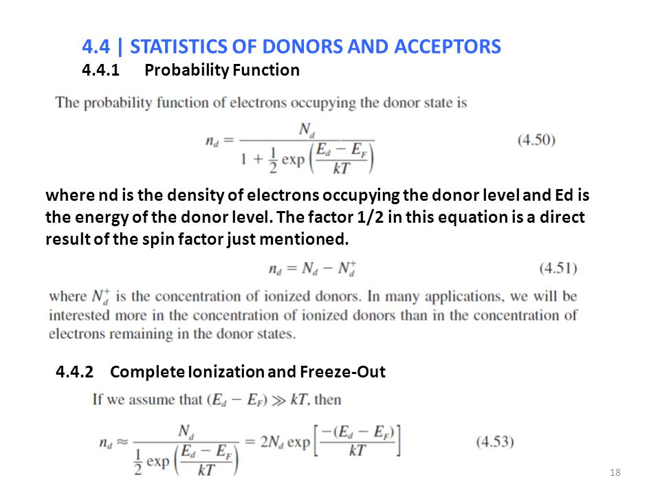 4.4 | STATISTICS OF DONORS AND ACCEPTORS