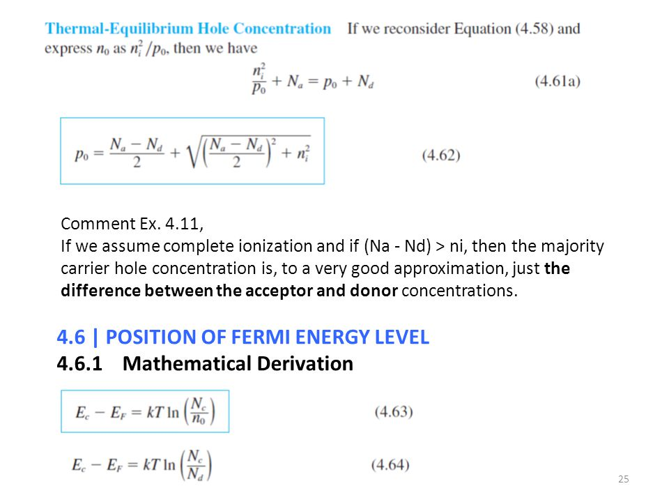4.6 | POSITION OF FERMI ENERGY LEVEL Mathematical Derivation