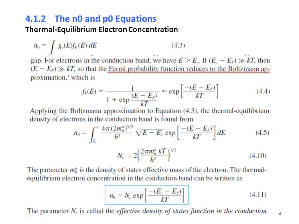 4.1.2 The n0 and p0 Equations Thermal-Equilibrium Electron Concentration