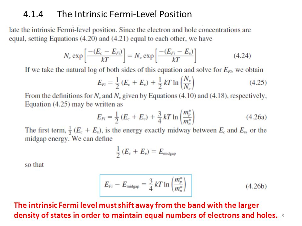 4.1.4 The Intrinsic Fermi-Level Position
