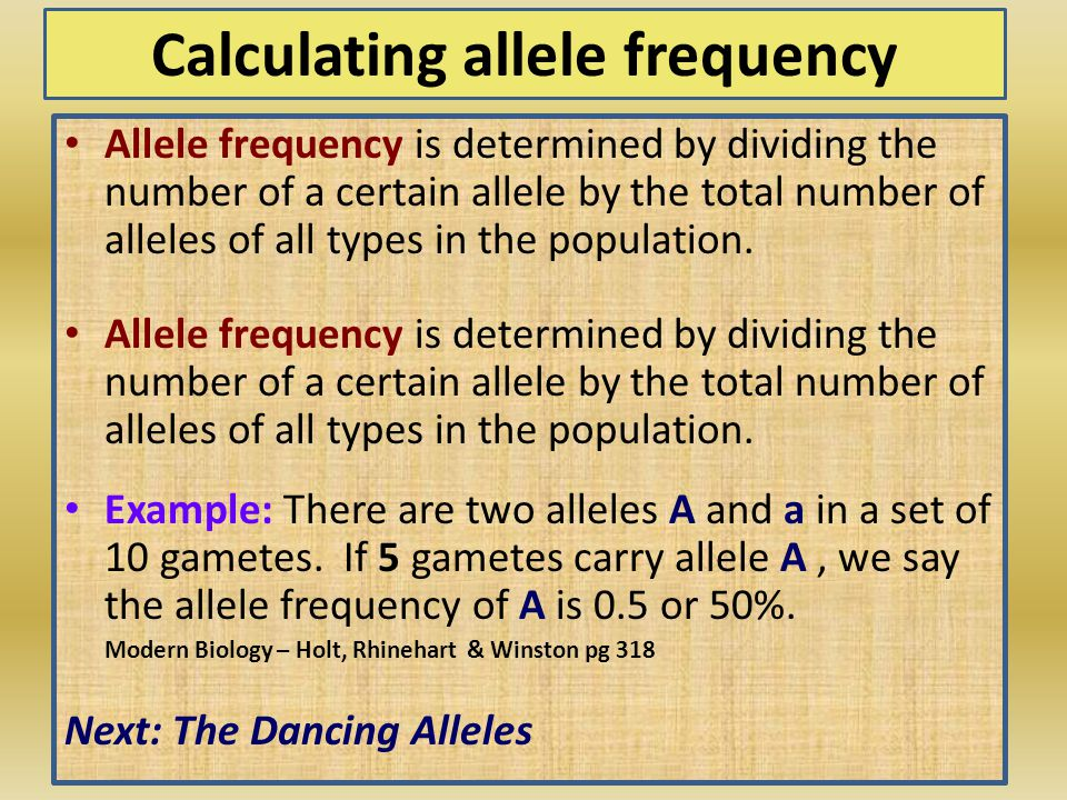 Calculating allele frequency