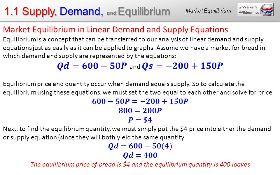 calculating the quadrants that define demand and supply in a market The core ideas in microeconomics supply, demand and equilibrium.