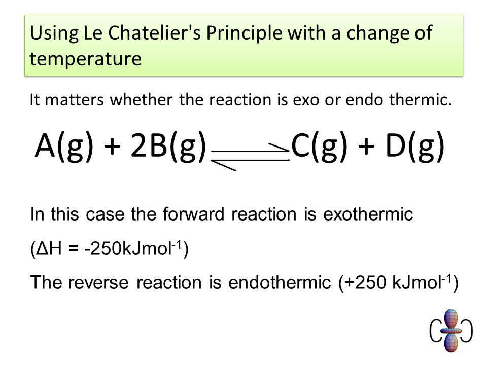 interpretation of reaction by le chateliers This qualitative reasoning tool is cited as le chatelier's principle  if the three  gases in the reaction were at equilibrium and you then increased the carbon.