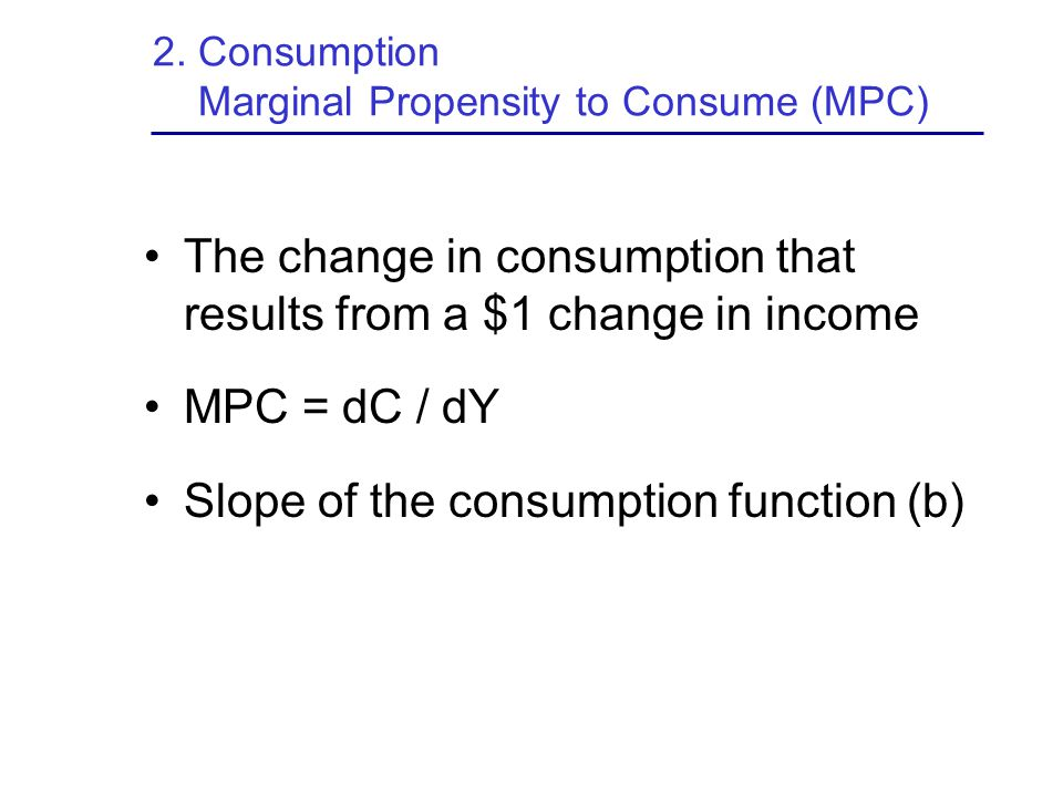 2. Consumption Marginal Propensity to Consume (MPC)