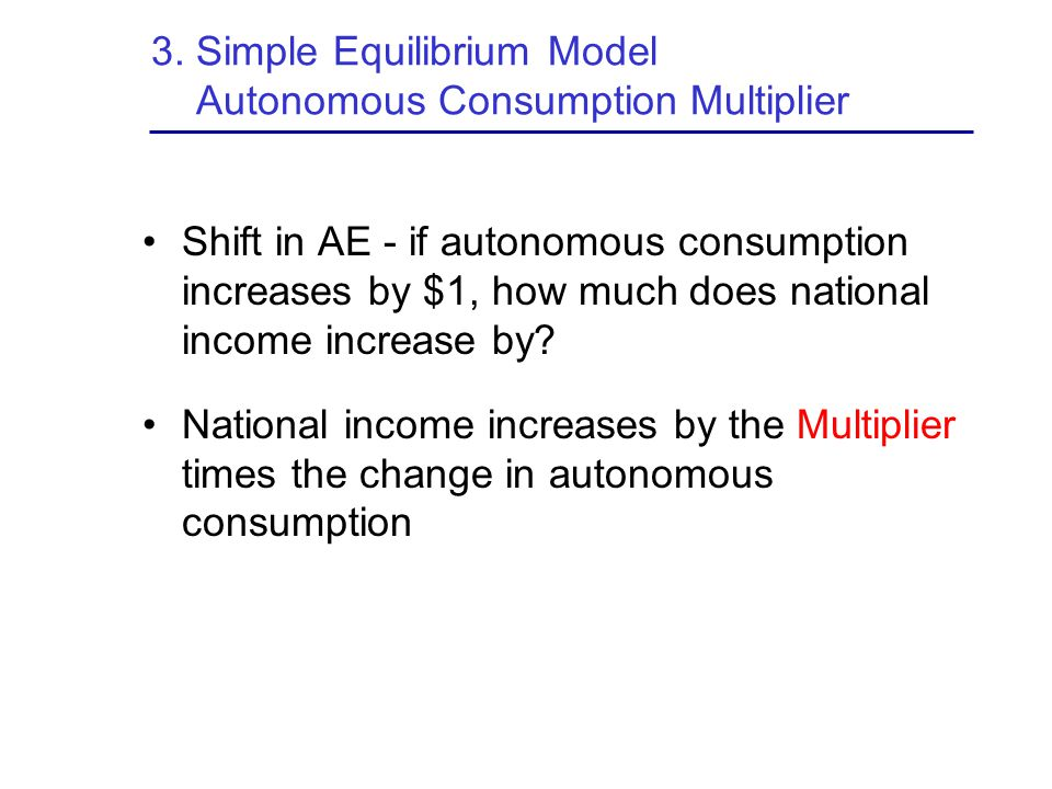 3. Simple Equilibrium Model Autonomous Consumption Multiplier