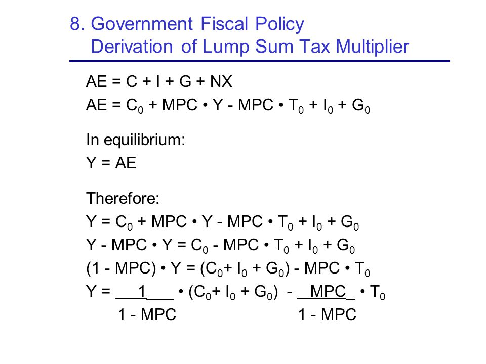8. Government Fiscal Policy Derivation of Lump Sum Tax Multiplier
