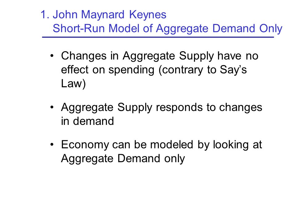 1. John Maynard Keynes Short-Run Model of Aggregate Demand Only
