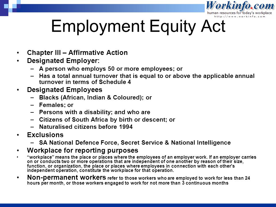an evaluation of the success of the employment equity act in canada Effectiveness of canada's employment equity legislation for women (1997-2004): implications for policy makers.