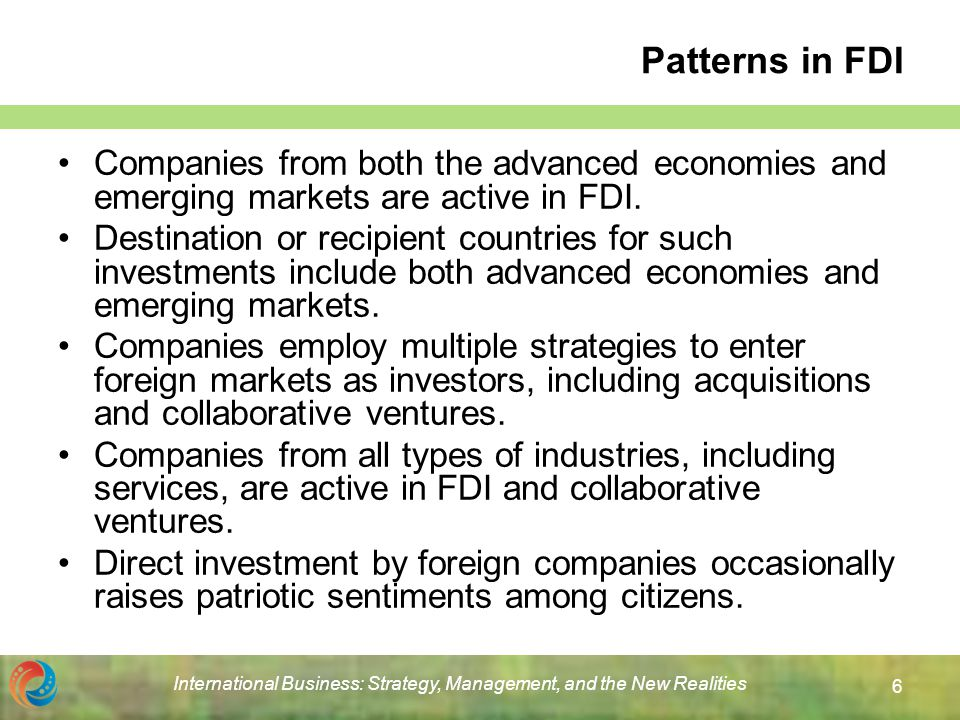 corporate strategy and foreign direct investment Chapter 17 corporate strategy and foreign direct investment 1 the united states department of commerce defines foreign direct investment as investment in either real capital assets or financial assets with a minimum of % equity ownership in a foreign firm.
