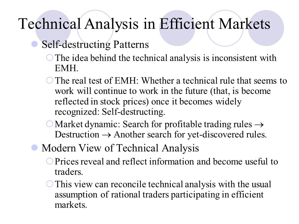 technical analysis efficient market hypothesis Efficient market hypothesis: strong, semi-strong  it would be the efficient market hypothesis weak-form emh is a shot aimed directly at technical analysis.