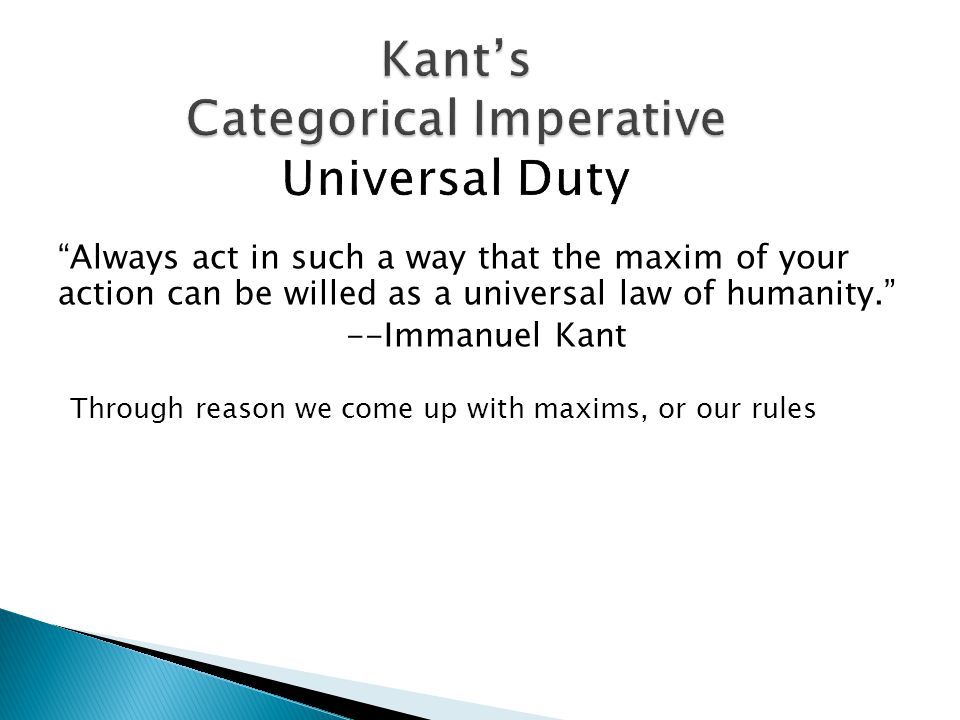 a personal view on immanuel kants categorical imperative Immanuel kant and the categorical imperative immanuel kant (1724-1804), gave in this essay i shall present and critically analyze kant's particular view of.