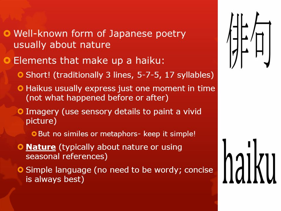 Poetry Unit: Japanese Poetry Tanka and Haiku - ppt video online ...