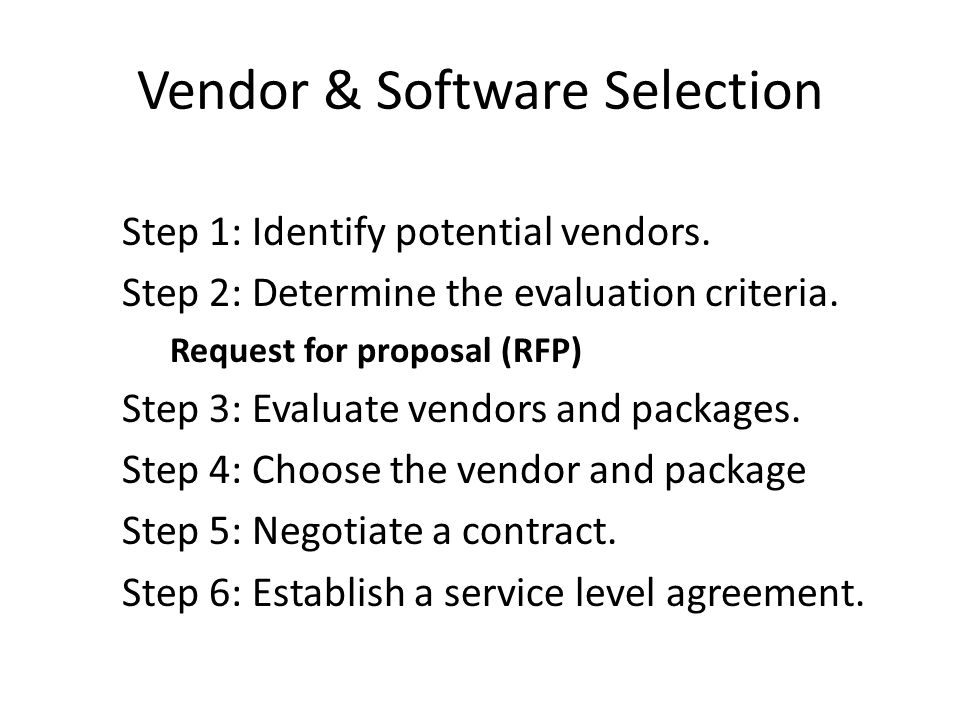 Vendor & Software Selection