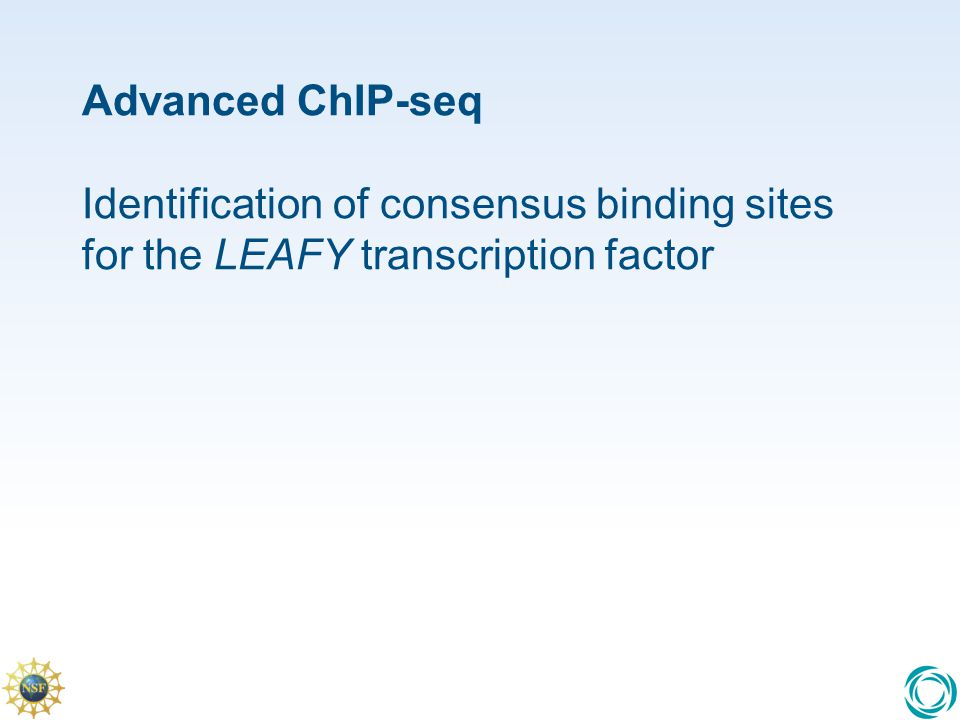 Advanced ChIP-seq Identification of consensus binding sites for the LEAFY transcription factor. Explain that you can use your own data.