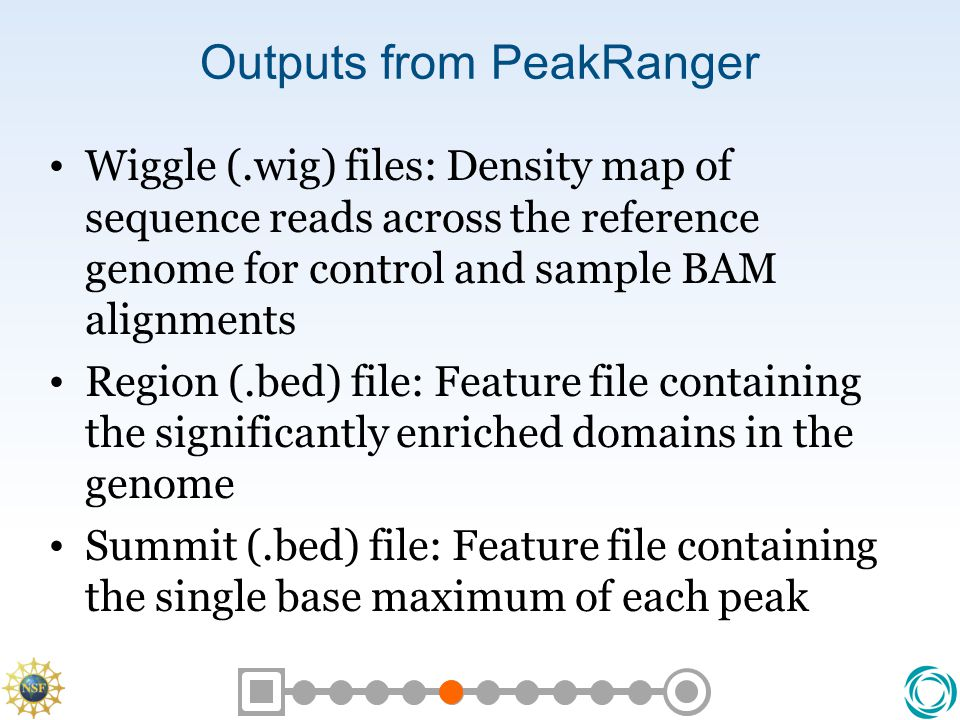 Outputs from PeakRanger