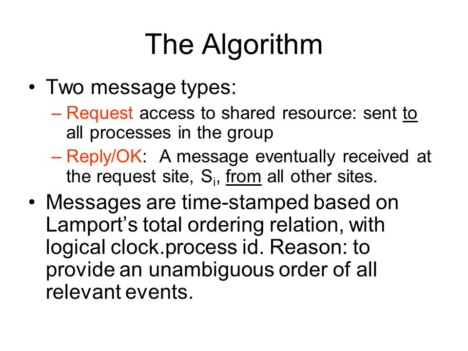 The Algorithm Two message types: