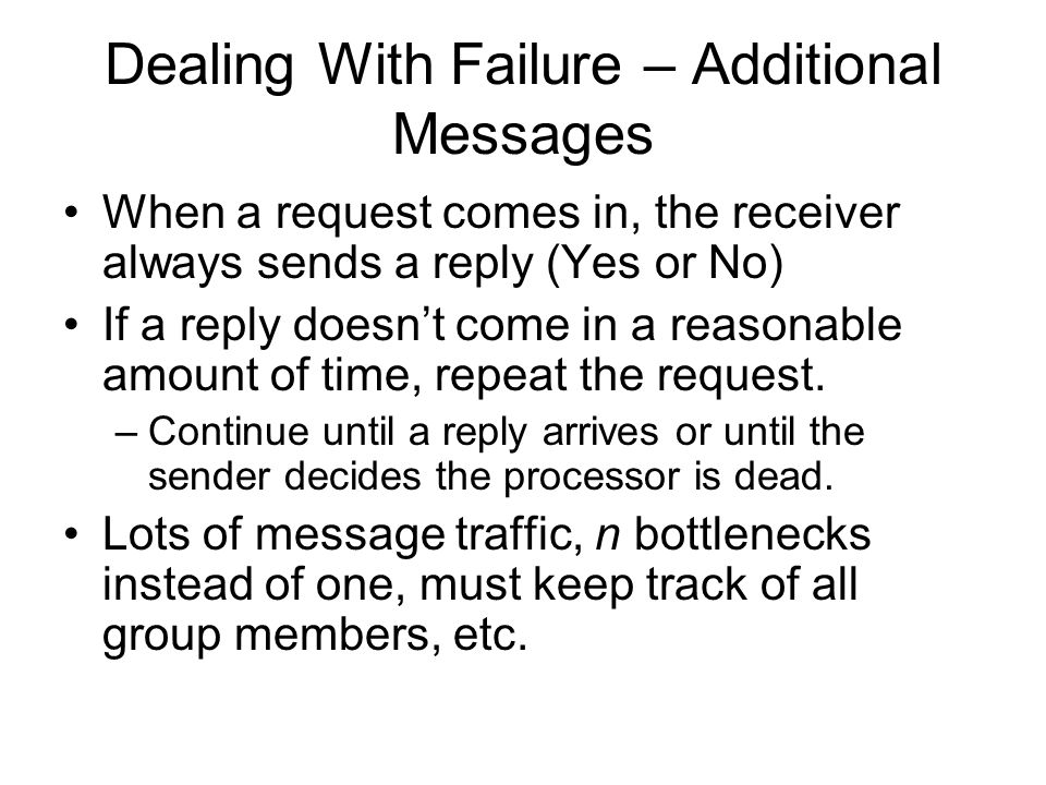 Dealing With Failure – Additional Messages