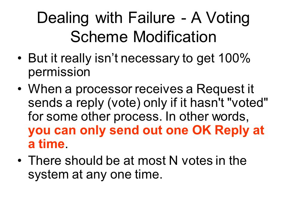 Dealing with Failure - A Voting Scheme Modification