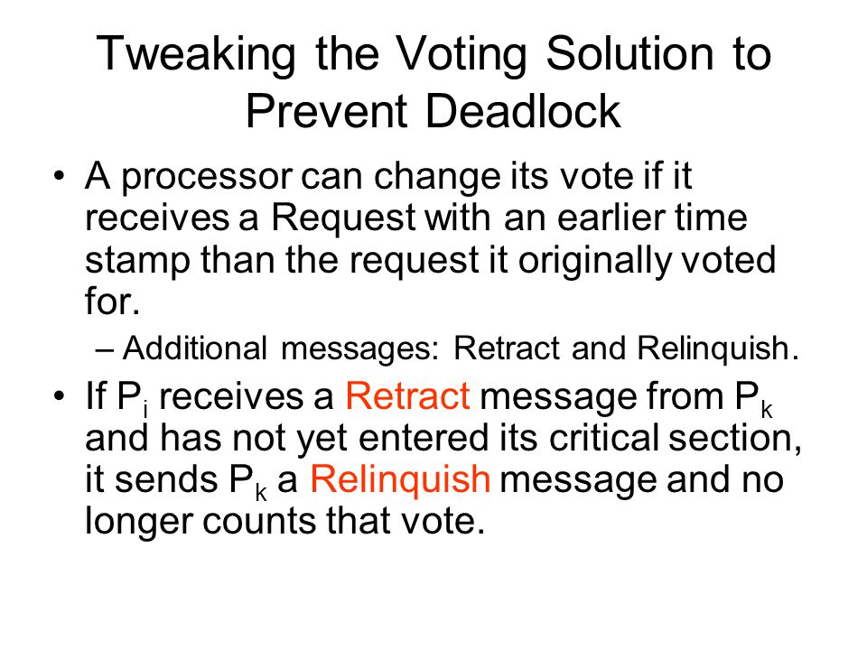 Tweaking the Voting Solution to Prevent Deadlock