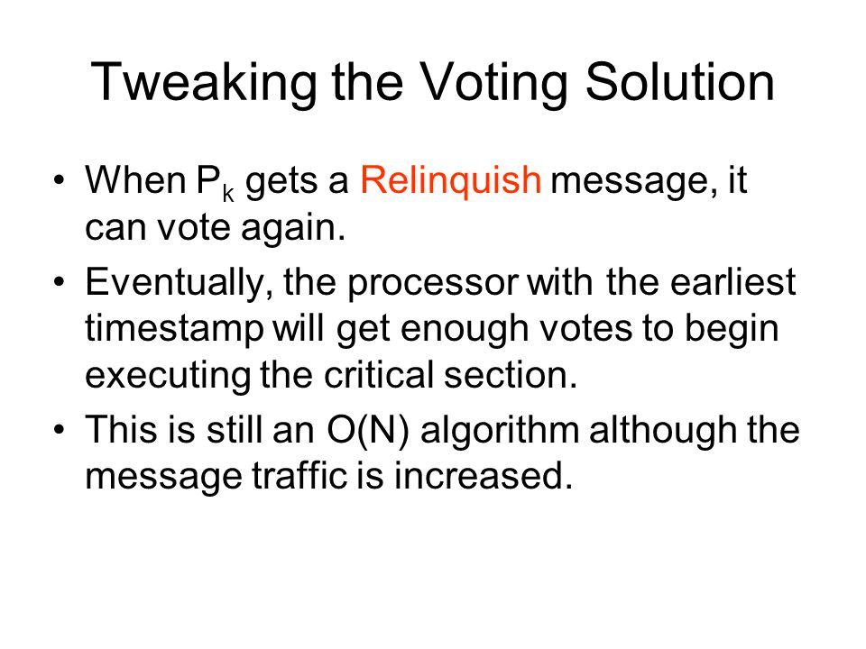 Tweaking the Voting Solution