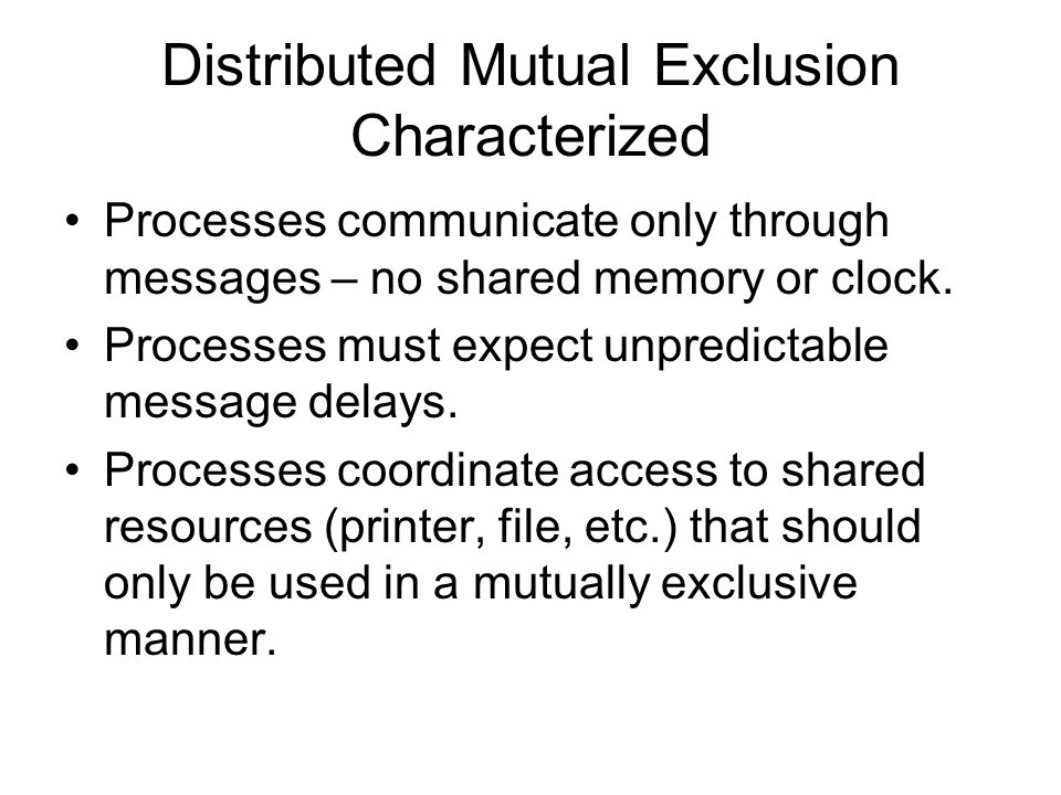 Distributed Mutual Exclusion Characterized