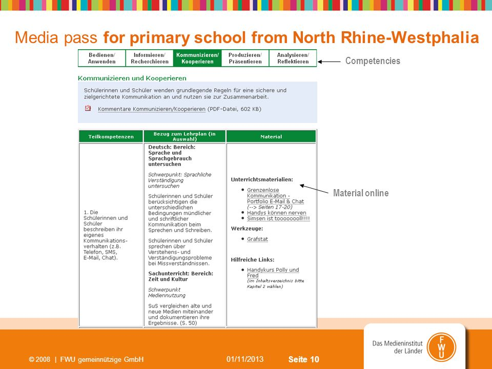 Media pass for primary school from North Rhine-Westphalia