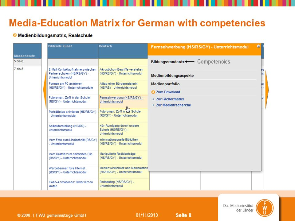 Media-Education Matrix for German with competencies