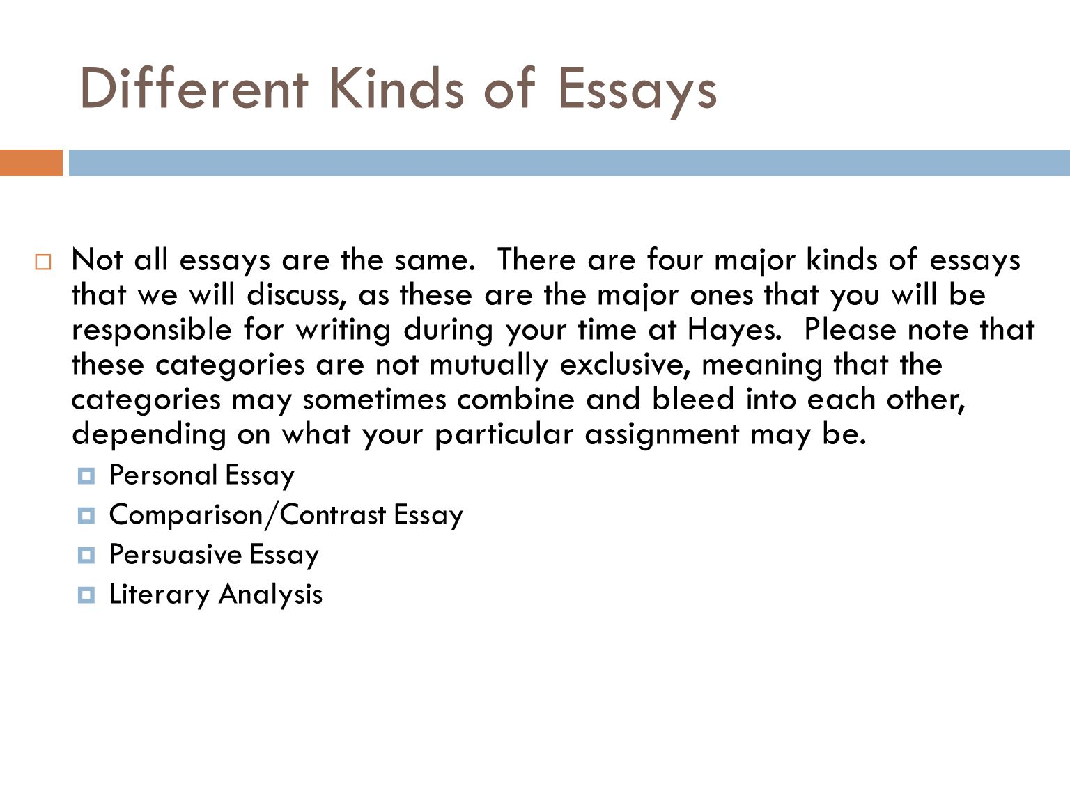 different kinds of personal essay Let's learn about attention getters and why they are important in academic essays we'll learn about several types of attention getters and review.