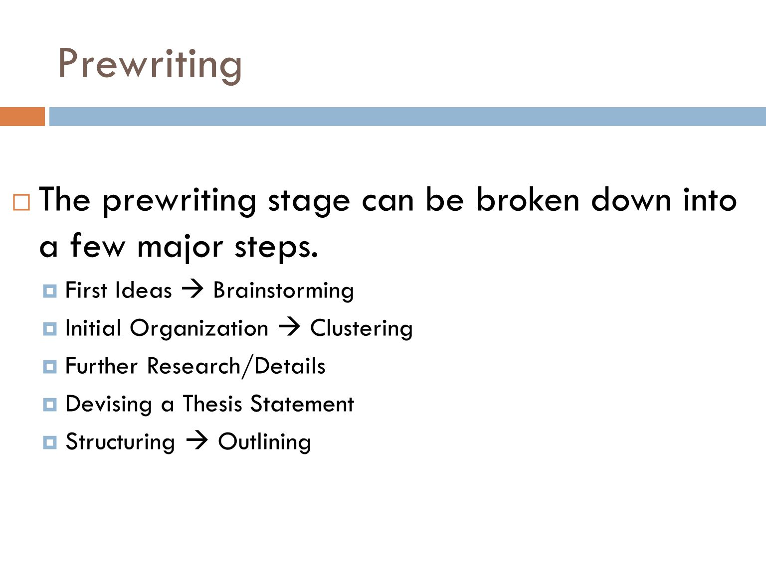 What steps are included in the prewriting phase of essay writing?