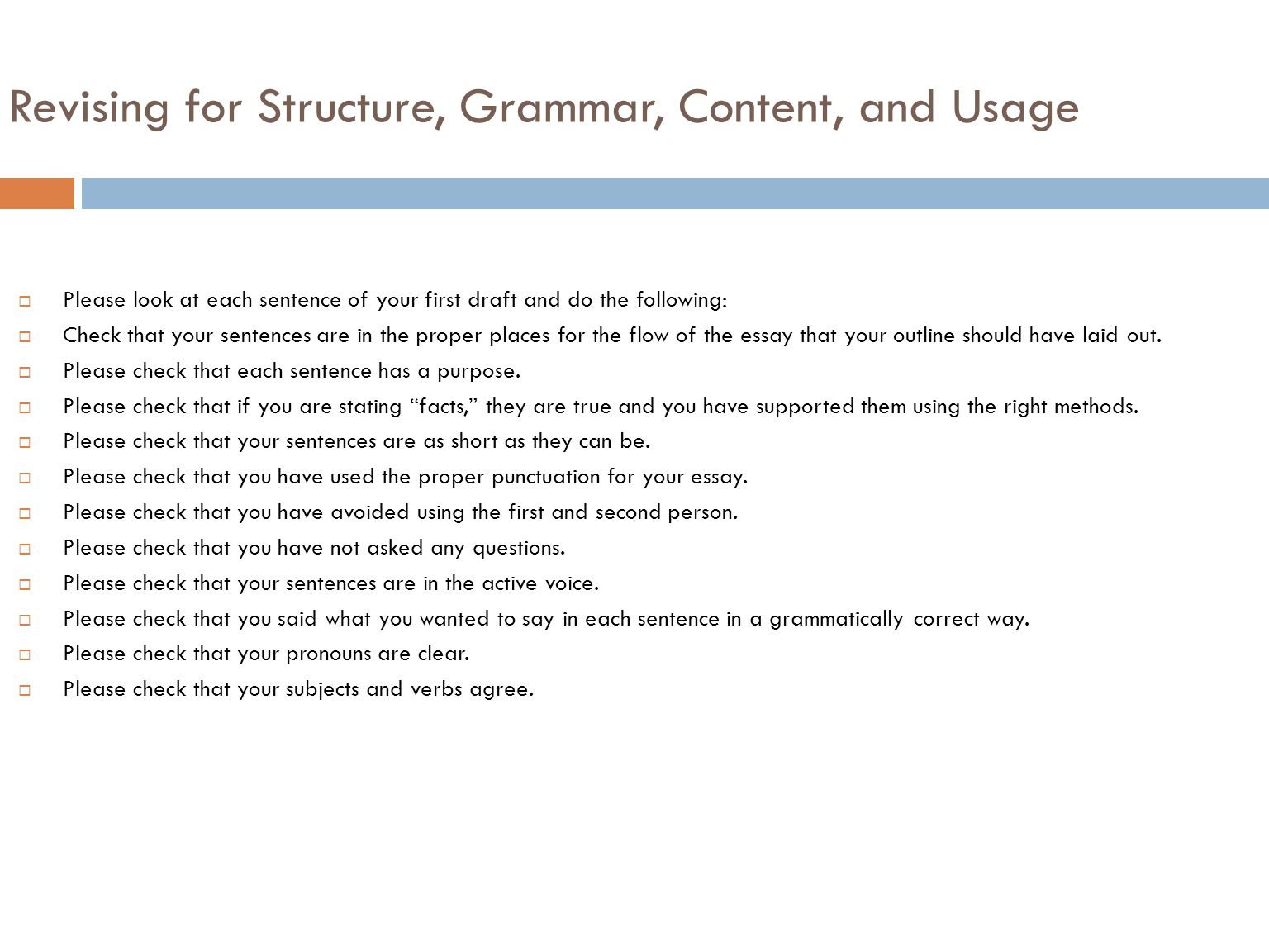 composition the writing process ppt  revising for structure grammar content and usage