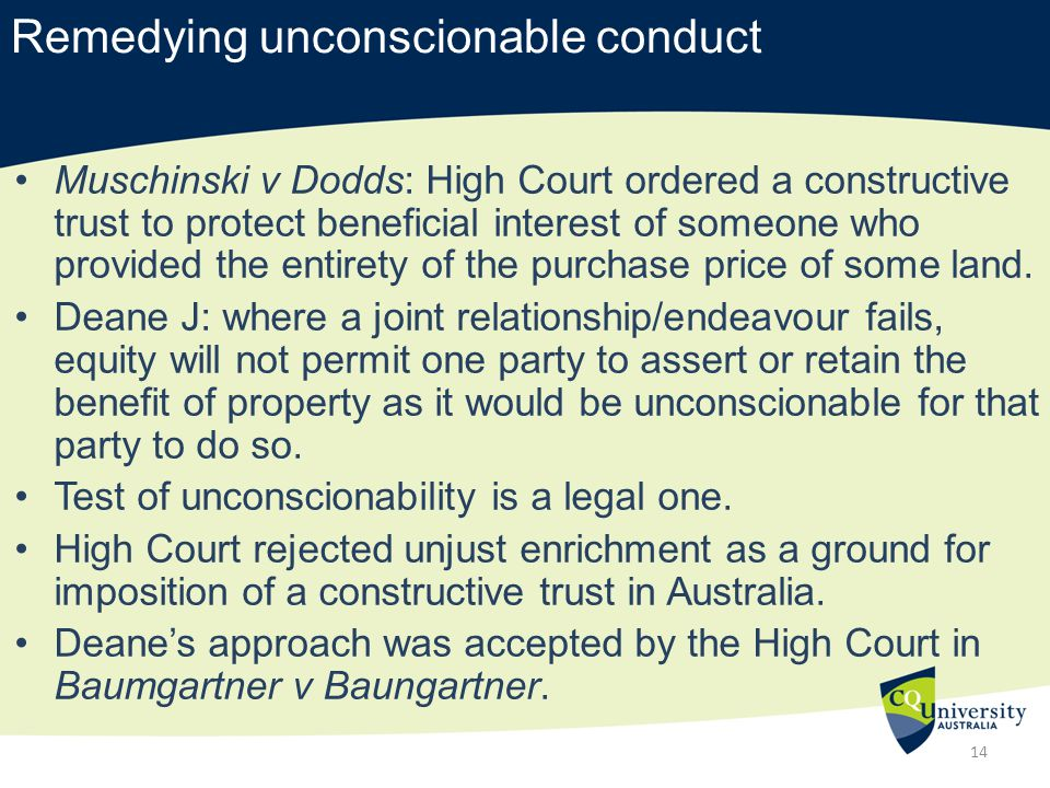 unconscionable conduct The federal court found westpac had engaged in unconscionable conduct and breached the asic act by attempting to manipulate the.