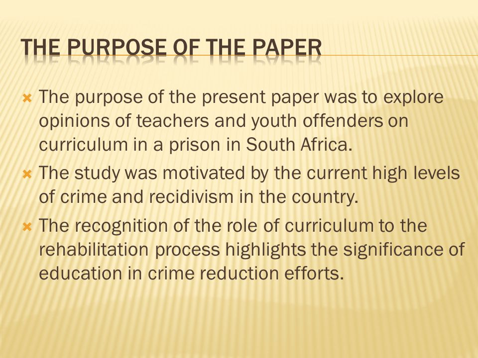 purpose of education research paper A conclusion section refocuses the purpose of the research, revealing a synopsis of what was found and leads into the implications of the findings a conclusion may also include limitations of the study and future research needs.