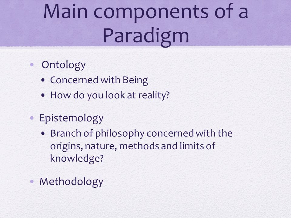 ontology in research Ontology vs epistemology epistemology and ontology are two different branches of sociology epistemology denotes the knowledge as perceived by people and.