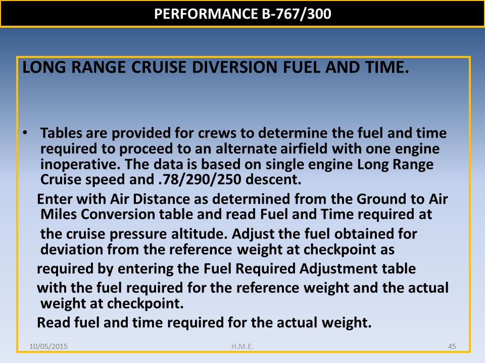 LONG RANGE CRUISE DIVERSION FUEL AND TIME.