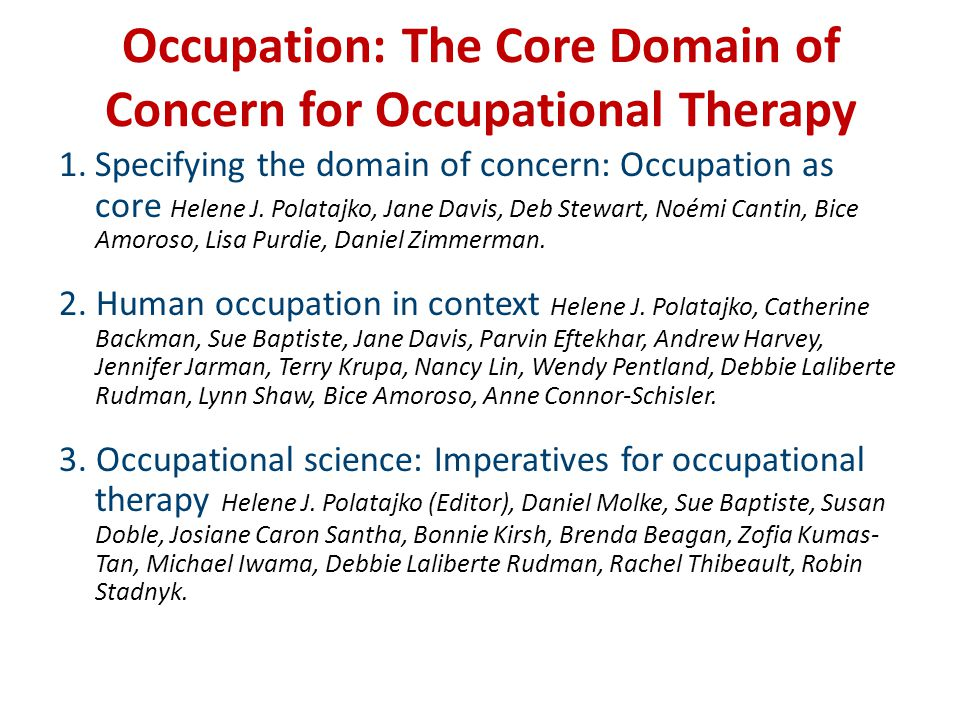Occupational science and therapy