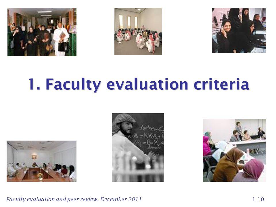 1. Faculty evaluation criteria