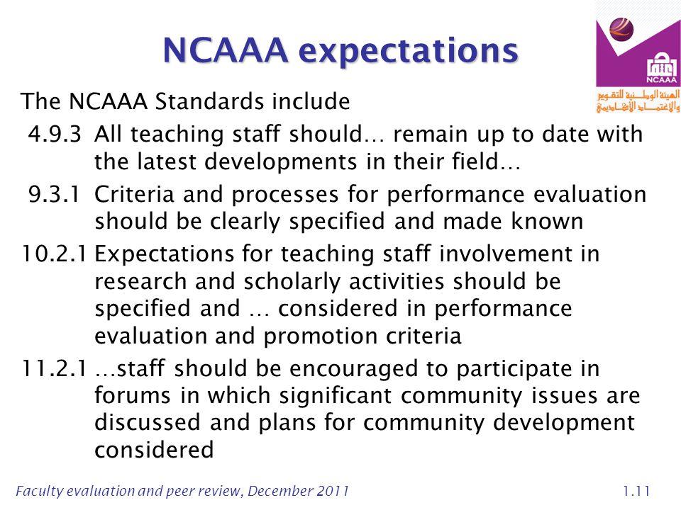 NCAAA expectations