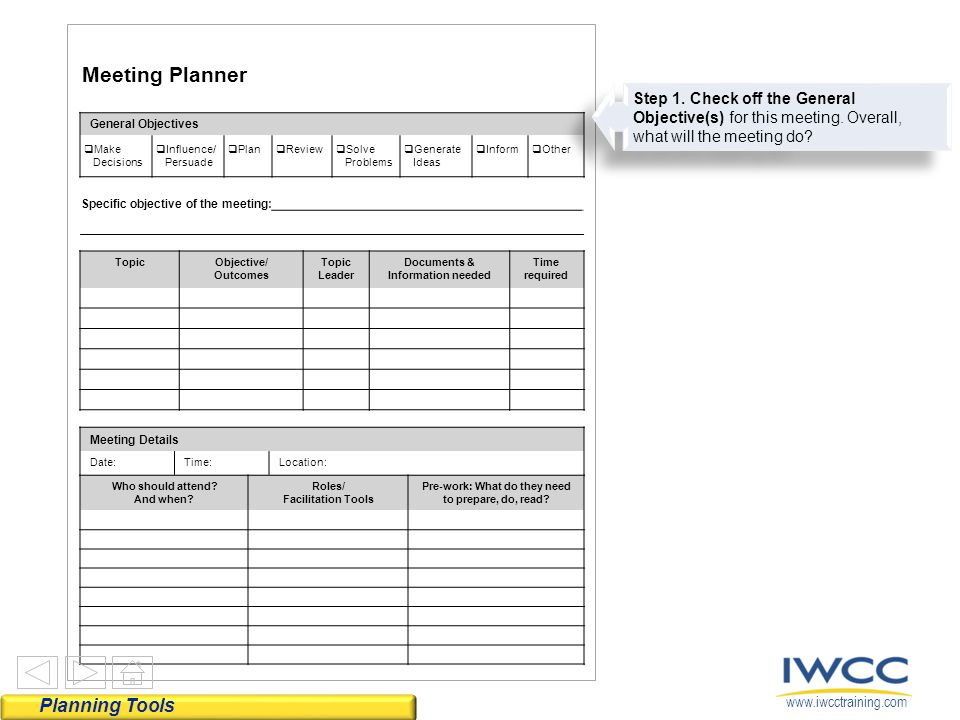 For planning productive meetings ppt video online download for Online planning tools