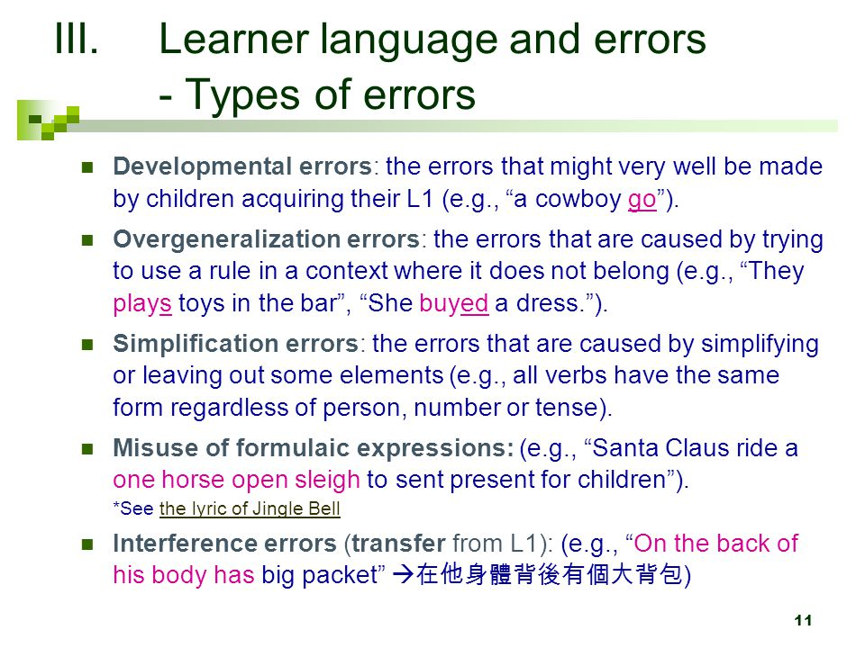 Learner language and errors - Types of errors