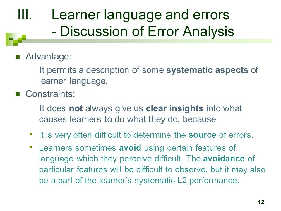 Learner language and errors - Discussion of Error Analysis