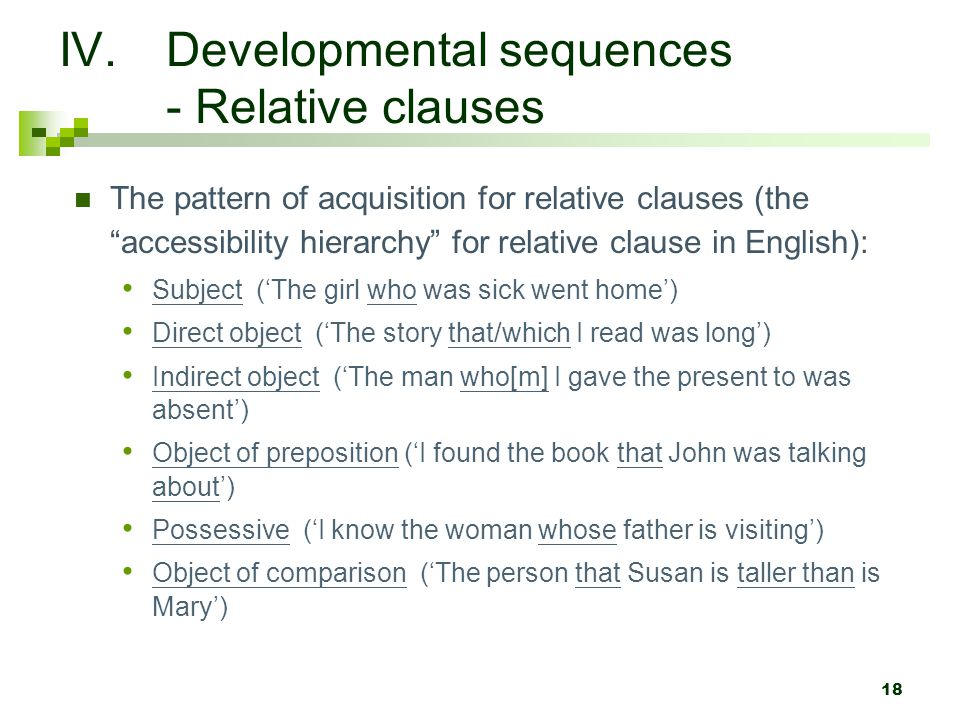 Developmental sequences - Relative clauses