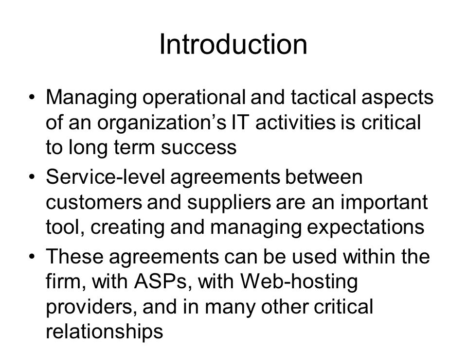 Developing and managing customer expectations ppt video online introduction managing operational and tactical aspects of an organizations it activities is critical to long term platinumwayz